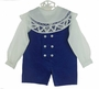 "<img src=""https://p11.secure.hostingprod.com/@grammies-attic.com/ssl/images/blue-sold-1.gif""> NEW Victorian Heirlooms Royal Blue Velvet Double Breasted Shortall Set with Battenburg Lace Trimmed Collar"
