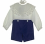 "<img src=""https://p11.secure.hostingprod.com/@grammies-attic.com/ssl/images/blue-sold-1.gif""> NEW Victorian Heirlooms Royal Blue Velvet Button on Shorts Set with Battenburg Lace Trimmed Collar"