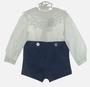 """<img src=""""https://p11.secure.hostingprod.com/@grammies-attic.com/ssl/images/blue-sold-1.gif""""> NEW Victorian Heirlooms Wedgewood Blue Velvet Button on Shorts Set with Battenburg Lace Trimmed Collar"""