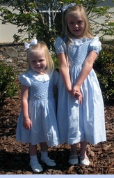 NEW Marco & Lizzie Blue Smocked Dress with Ruffled Lace Collar for Toddlers and Little Girls (SPOC1209)