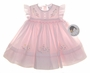 "<img src=""https://p11.secure.hostingprod.com/@grammies-attic.com/ssl/images/blue-sold-1.gif""> NEW Sarah Louise Pale Pink Smocked Dress with Embroidered Flowers and Pinafore Style Sleeves"