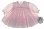 "<img src=""https://p11.secure.hostingprod.com/@grammies-attic.com/ssl/images/blue-sold-1.gif""> NEW Sarah Louise Pale Pink Smocked Baby Dress with Pintucks and Embroidered Pink Rosebuds"