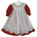 NEW Will'Beth Red Dress and White Smocked Pinafore with Scalloped Hem