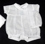 NEW Will'Beth White Pintucked Romper with Train Embroidery and Matching Hat