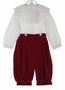 "<img src=""https://p11.secure.hostingprod.com/@grammies-attic.com/ssl/images/blue-sold-1.gif""> NEW Victorian Heirlooms Dark Red Velvet Button On Knickers Set with Battenberg Lace Trimmed White Shirt"