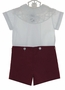 "<img src=""https://p11.secure.hostingprod.com/@grammies-attic.com/ssl/images/blue-sold-1.gif""> NEW Victorian Heirlooms Burgundy Cotton Button On Shorts Set with Battenburg Lace Collar"