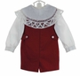 "<img src=""http://site.grammies-attic.com/images/blue-sold-1.gif""> NEW Victorian Heirlooms Red Wool Shortall with Battenburg Lace Trimmmed Collar"