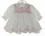 "<img src=""https://p11.secure.hostingprod.com/@grammies-attic.com/ssl/images/blue-sold-1.gif""> NEW Sarah Louise White Smocked Dress and Diaper Cover with Red Embroidery and Ruffled Trim"