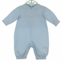 "<img src=""http://site.grammies-attic.com/images/blue-sold-1.gif""> NEW Petit Ami Blue Cotton Romper and Matching Hat with Airplane Embroidery"