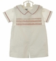 NEW Highland Porch White Cotton Smocked Shortall Set with Red and Ivory Embroidery
