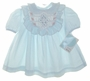 "<img src=""https://p11.secure.hostingprod.com/@grammies-attic.com/ssl/images/blue-sold-1.gif""> NEW Polly Flinders Blue Smocked Dress with Ruffled Yoke"