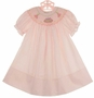 NEW Rosalina Pale Pink Bishop Smocked Dress with Birthday Cake Embroidery