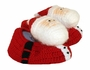 NEW Custom Crocheted Santa Claus Booties with Black Vinyl Soles