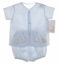 "<img src=""https://p11.secure.hostingprod.com/@grammies-attic.com/ssl/images/blue-sold-1.gif""> NEW Will'Beth Blue Linen Diaper Set with Appliqued Ducks"