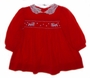 Polly Flinders Red Smocked Toddler Dress with Embroidered Reindeer
