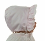 NEW Lullaby Set Pale Pink Bonnet with Swiss Lace Trim