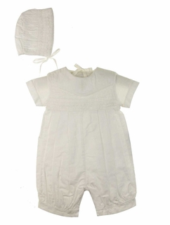 baef86498748 NEW Highland Porch White Smocked Romper with Cross Embroidery and Matching  Smocked Hat