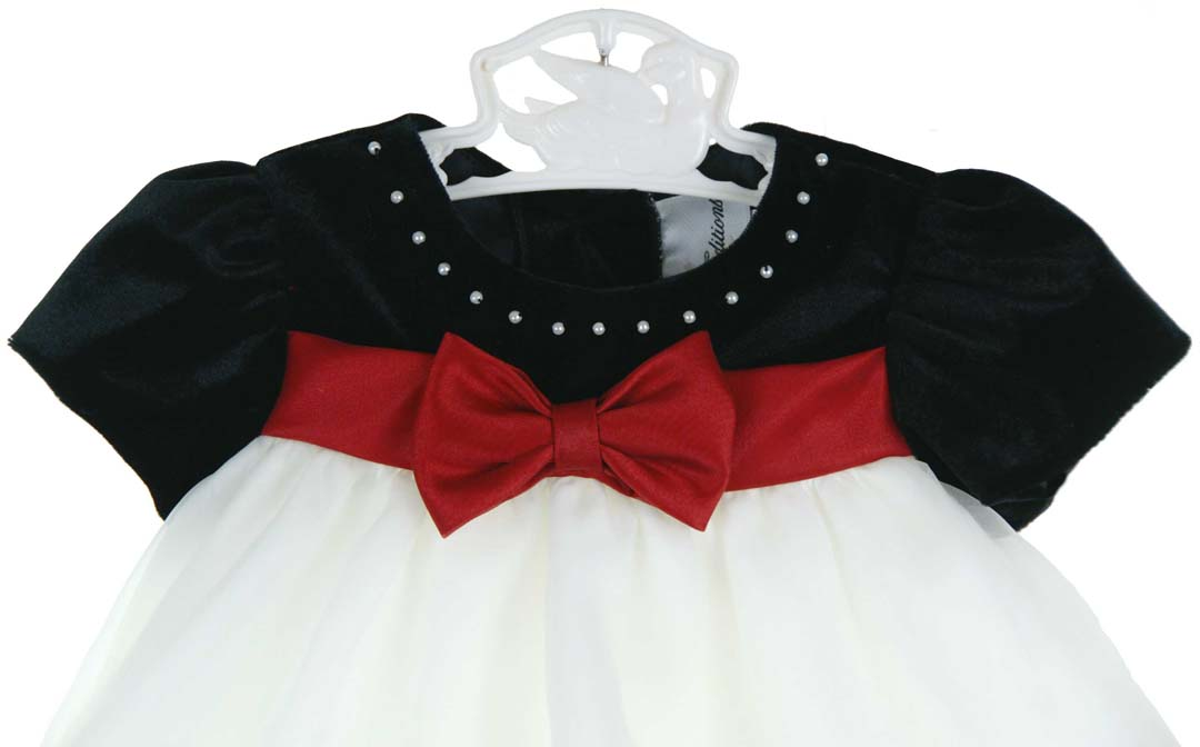 3f5710c0376 NEW Rare Editions Black Velvet Baby Dress with Ivory Ruffled Organdy Skirt