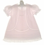 NEW Feltman Brothers Pale Pink Vintage Style Baby Dress with Lace Insertion and Embroidery