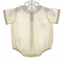 NEW Feltman Brothers Palest Yellow Baby Romper with Giraffe Embroidery