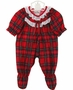 NEW Red Plaid Footed Pajamas with Ruffle Eyelet Trim for Preemie Girls