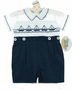 "<img src=""https://p11.secure.hostingprod.com/@grammies-attic.com/ssl/images/blue-sold-1.gif""> NEW Carriage Boutiques Navy and White Smocked Button on Shorts Set with Sailboat Embroidery"