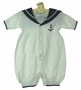 "<img src=""https://p11.secure.hostingprod.com/@grammies-attic.com/ssl/images/blue-sold-1.gif""> NEW Sophie Dess White Knit Sailor Romper with Navy Collar"