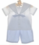 "<img src=""https://p11.secure.hostingprod.com/@grammies-attic.com/ssl/images/blue-sold-1.gif""> NEW Sophie Dess White Cotton Sailor Shirt with Blue Striped Seersucker Shorts"