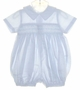 "<img src=""https://p11.secure.hostingprod.com/@grammies-attic.com/ssl/images/blue-sold-1.gif""> NEW Sophie Dess Pale Blue Smocked Baby Romper with Blue and White Embroidery"