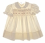 "<img src=""https://p11.secure.hostingprod.com/@grammies-attic.com/ssl/images/blue-sold-1.gif""> Polly Flinders Cream Smocked Dress with Embroidered Flowers"