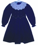 "<img src=""https://p11.secure.hostingprod.com/@grammies-attic.com/ssl/images/blue-sold-1.gif""> Polly Flinders Navy Blue Smocked Dress with White Embroidered Portrait Collar"