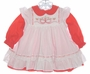 "<img src=""https://p11.secure.hostingprod.com/@grammies-attic.com/ssl/images/blue-sold-1.gif""> Polly Flinders Red Dress with White Smocked Pinafore with Holiday Embroidery"