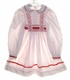 "<img src=""https://p11.secure.hostingprod.com/@grammies-attic.com/ssl/images/blue-sold-1.gif""> Polly Flinders White Dotted Smocked Dress for Little Girls with Red Ribbon Insert"