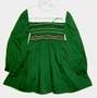 "<img src=""https://p11.secure.hostingprod.com/@grammies-attic.com/ssl/images/blue-sold-1.gif""> Polly Flinders Green Smocked Little Girls Dress with Red and White Embroidery"