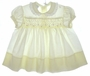 "<img src=""https://p11.secure.hostingprod.com/@grammies-attic.com/ssl/images/blue-sold-1.gif""> Vintage 1950s Polly Flinders Pale Yellow Smocked Baby Dress with Lace Trimmed Collar"