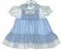"<img src=""https://p11.secure.hostingprod.com/@grammies-attic.com/ssl/images/blue-sold-1.gif""> Polly Flinders Blue Checked Pinafore Style Dress with Smocked Yoke"