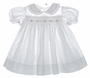 "<img src=""https://p11.secure.hostingprod.com/@grammies-attic.com/ssl/images/blue-sold-1.gif""> Polly Flinders White Eyelet Smocked Toddler Dress with Pink Rosebud Embroidery"