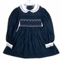 "<img src=""https://p11.secure.hostingprod.com/@grammies-attic.com/ssl/images/blue-sold-1.gif""> Polly Flinders Navy and Green Plaid Smocked Little Girls Dress with White Collar"