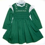 "<img src=""https://p11.secure.hostingprod.com/@grammies-attic.com/ssl/images/blue-sold-1.gif""> Polly Flinders Green Smocked Dress with White Eyelet Trim"