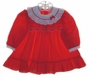 "<img src=""https://p11.secure.hostingprod.com/@grammies-attic.com/ssl/images/blue-sold-1.gif""> Polly Flinders Red Smocked Baby Dress with White Eyelet Collar"