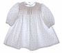 "<img src=""https://p11.secure.hostingprod.com/@grammies-attic.com/ssl/images/blue-sold-1.gif""> Polly Flinders White Flowered Smocked Baby Dress with Embroidered Collar"