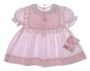 "<img src=""https://p11.secure.hostingprod.com/@grammies-attic.com/ssl/images/blue-sold-1.gif""> NEW Polly Flinders Pink Striped Baby Dress with Lace Trimmed Bib Collar"