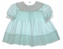 "<img src=""https://p11.secure.hostingprod.com/@grammies-attic.com/ssl/images/blue-sold-1.gif""> Polly Flinders Green Dotted Smocked Baby Dress with Lace Trimmed White Collar"