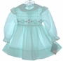 "<img src=""https://p11.secure.hostingprod.com/@grammies-attic.com/ssl/images/blue-sold-1.gif""> NEW Polly Flinders Pale Aqua Smocked Dress with Pinafore Style Sleeves"