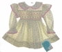 "<img src=""https://p11.secure.hostingprod.com/@grammies-attic.com/ssl/images/blue-sold-1.gif""> NEW Polly Flinders Cream Smocked Baby Dress with Tiny Pink Flowers"