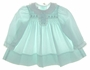 "<img src=""https://p11.secure.hostingprod.com/@grammies-attic.com/ssl/images/blue-sold-1.gif""> NEW Polly Flinders Pale Green Dotted Smocked Baby Dress with Lacy Ruffled Collar and Pearl Buttons"