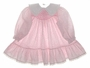 "<img src=""https://p11.secure.hostingprod.com/@grammies-attic.com/ssl/images/blue-sold-1.gif""> Polly Flinders Pink Flowered Smocked Baby Dress with White Collar"