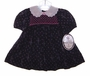 "<img src=""https://p11.secure.hostingprod.com/@grammies-attic.com/ssl/images/blue-sold-1.gif""> NEW Polly Flinders Navy Smocked Baby Dress with Tiny Pink Flowers"