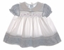 "<img src=""https://p11.secure.hostingprod.com/@grammies-attic.com/ssl/images/blue-sold-1.gif""> Polly Flinders Flowered Pinafore Style Smocked Baby Dress with Lilac Embroidery"