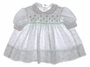 "<img src=""https://p11.secure.hostingprod.com/@grammies-attic.com/ssl/images/blue-sold-1.gif""> Polly Flinders White Flowered Smocked Baby Dress with Pink and Green Embroidery"
